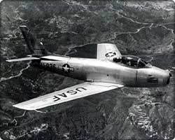 A example of a F-86A, all designed to destroy hostile aircraft in flight or on the ground -- were equipped with more powerful engines and armament systems that ranged from bombs and rockets to machine guns and cannon. All are rated in the 650-mph class with a 600-mile combat radius and a service ceiling of over 45,000 feet.