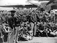 Jimmy Doolittle with the rest of the Doolittle raiders on the deck of the Hornet.