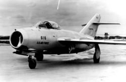 The MiG-15  entered service early in 1949. Later in the year, the improved MiG-15bis version appeared, and a two-seat trainer version, the MiG-15UTI, was also introduced. In 1950, Western air forces were surprised at the combat capability of the new design in the skies over Korea. The MiG-15 could out-climb, out-turn, and fly higher than the US-built F-86 Sabre. Fortunately, Allied pilots were better-trained and had better equipment installed in their aircraft, and they prevailed against the MiG.